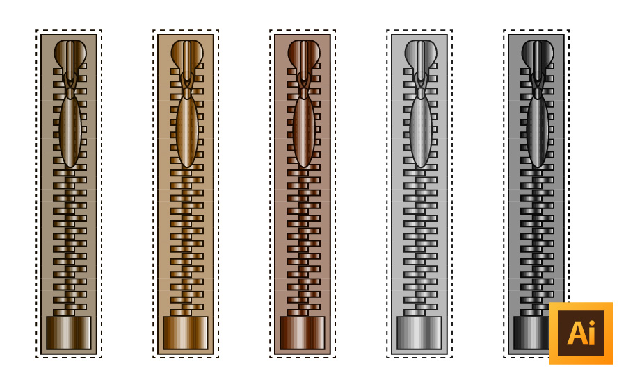 How to Draw A Metallic Zipper in Illustrator (with the pull and stop in ONE brush!)