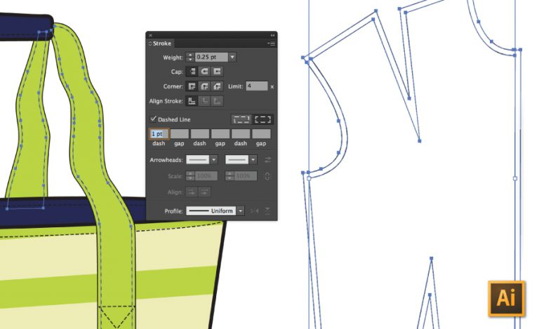 33d894e93dbe How to Draw Stitching   Seam Allowance in Illustrator (accurately ...