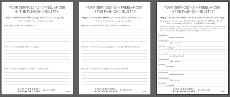 Free Downloadable Template for Freelance Fashion Designer Services by Sew Heidi