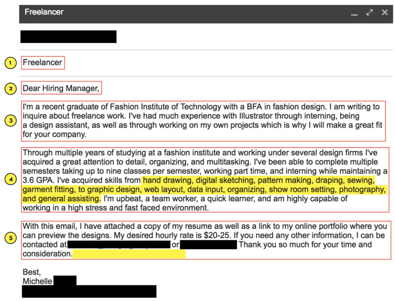 Freelance Fashion Design Email Pitch Template Bad Example by Sew Heidi