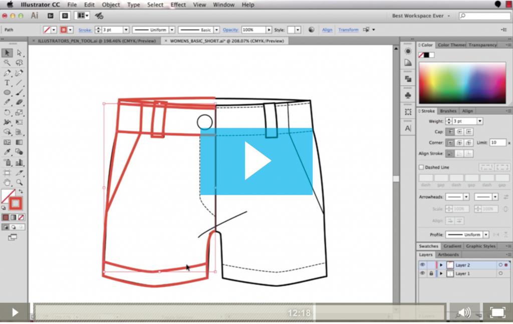 Sketch Fashion Flats with the Pen Tool in Adobe Illustrator {Sew Heidi}