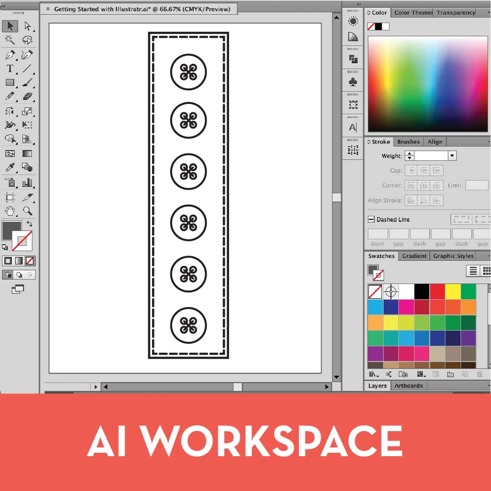 Free Adobe Illustrator for fashion design tutorials, workspace