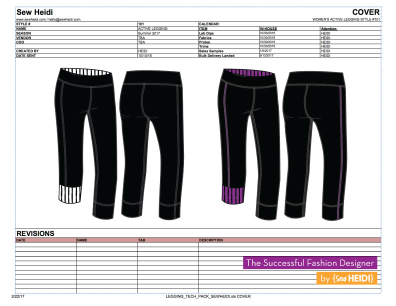 What is a fashion tech pack? The Successful Fashion Designer by Sew Heidi