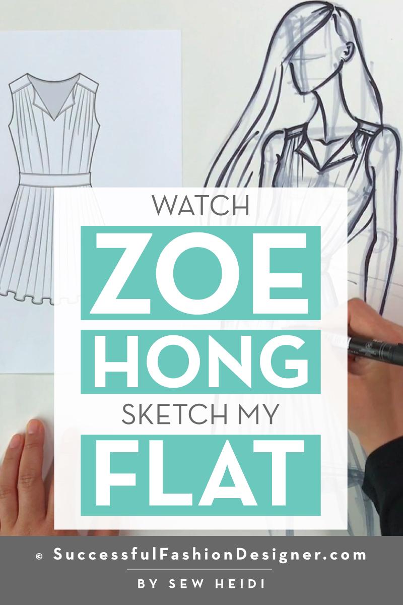 Zoe Hong Sketches Sew Heidi's Fashion Flat at YouTube Space LA